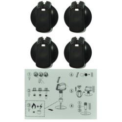 UK-40B4 KNOB SET OF 4- UNIVERSAL KIT BLACK, 40MM SKIRT